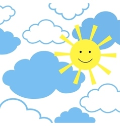 sun with clouds vector image