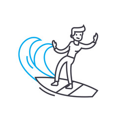 Surfing linear icon concept surfing line vector