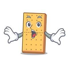 Surprised graham cookies mascot cartoon vector