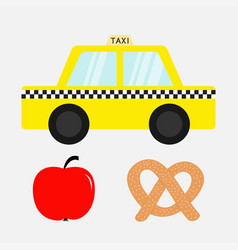 Taxi car cab icon soft pretzel bakery red apple vector