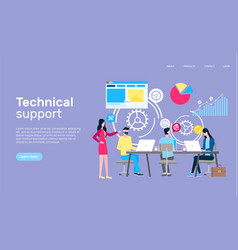 technical support online page internet shopping vector image