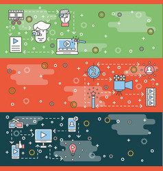 thin line art video web banner template set vector image