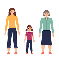 three ages women from child vector image