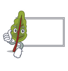 thumbs up with board chard character cartoon style vector image