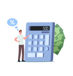 Tiny man counting budget on huge calculator vector