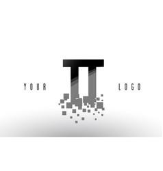 Tt t pixel letter logo with digital shattered vector