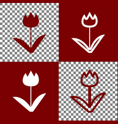 Tulip sign bordo and white icons and line vector