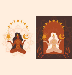 two color variants a spiritual woman vector image