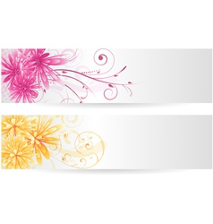 Two flower banners vector