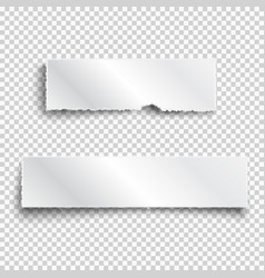 two white realistic paper ripped pieces with vector image