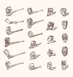 vintage smoking pipe antique prehistoric tobacco vector image