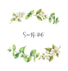 Watercolor wreath flowers jasmine and vector