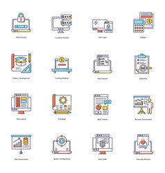Web security flat icons pack vector