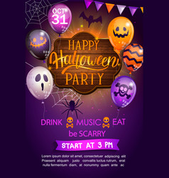 welcome flyer for happy halloween party vector image