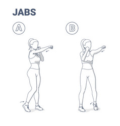 Woman doing jabs exercise fitness home workout vector
