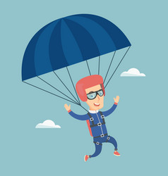 Young happy man flying with a parachute vector