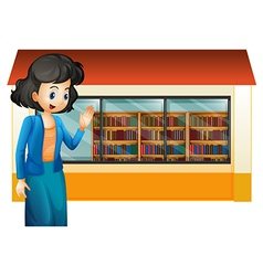 A librarian outside the library vector image vector image