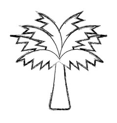 figure palm tree with leaves and vegetation vector image