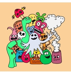 Funny monsters card vector image vector image