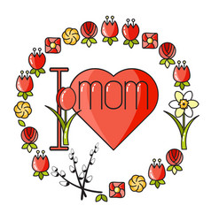 greeting card with heart flowers and wo vector image