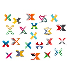 Letter x symbols and elements vector