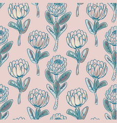 protea flower seamless pattern vector image vector image