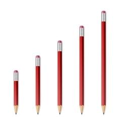 Red wooden sharp pencils vector
