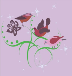 three cute little birds vector image vector image