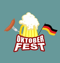 Oktoberfest beer and sausages German flag Beer vector image