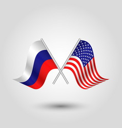 two crossed russian and american flags vector image vector image