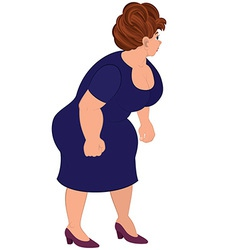 Cartoon fat woman in blue dress vector image