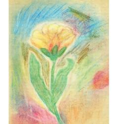 Chalk Drawn Tulip vector image vector image