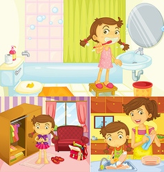 Girl doing different activities at home vector image vector image
