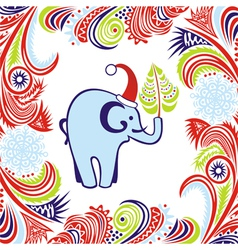 Happy new year merry christmas card elephant vector image