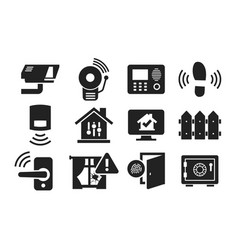 home security icon set 02 vector image vector image