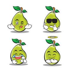 pear character cartoon of set vector image vector image