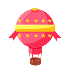 Pink hot air baloon aircraft fairy tale candy vector