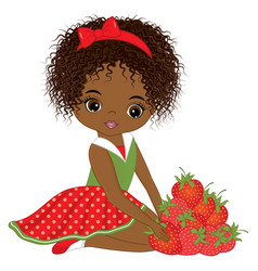 african american girl with strawberries vector image