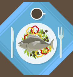 cartoon fish and fresh vegetables on a plate vector image