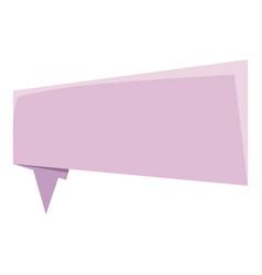 Lilac origami speech bubble icon cartoon style vector