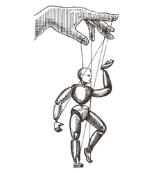 Puppet logo design template management or vector