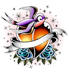 swallow with rose and heart vector image