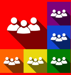 team work sign set of icons with flat vector image vector image