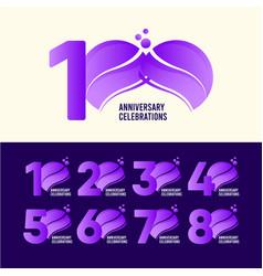 100 years anniversary celebration set purple vector