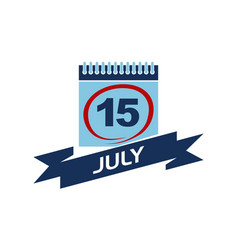 15 july calendar with ribbon vector