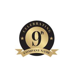 9th year anniversary emblem logo design template vector