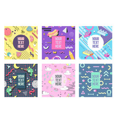 abstract memphis geometric shapes placards vector image