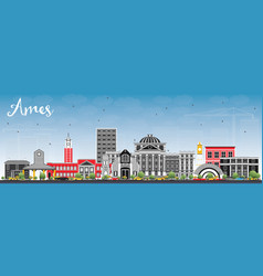 Ames iowa skyline with color buildings and blue vector