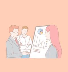 Analytics department meeting company staff vector