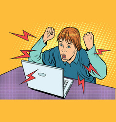 Angry teenager sitting at computer laptop vector